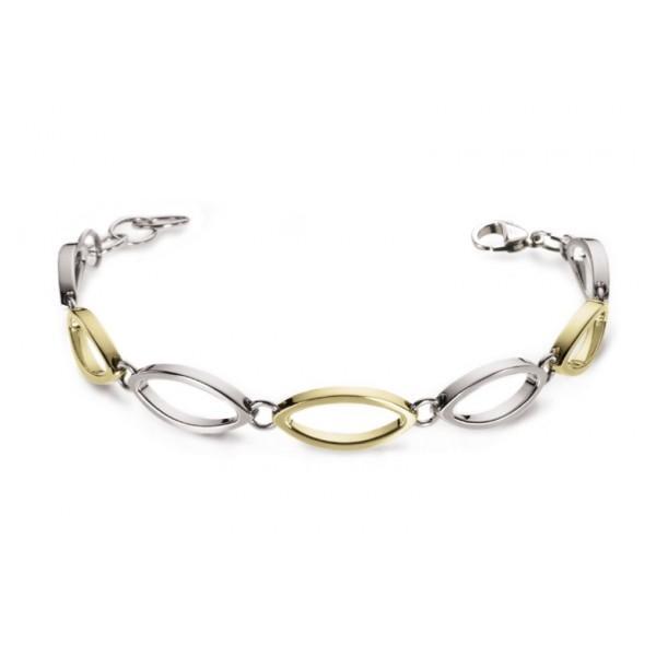 Bracelet femme titane et plaqué or jaune, Boccia Titanium anti allergique