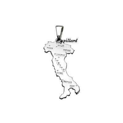 a395702c0cf Pendentif carte d Italie argent rhodié 925 petit modèle - Réf. 00565