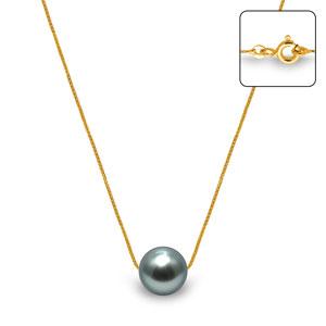 Collier Or Jaune 750 1000 18 Carats Perle De Culture De Tahiti 42
