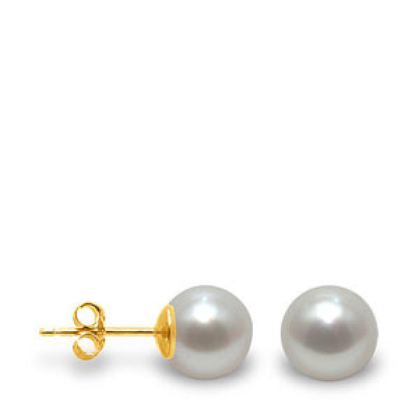 Boucle d'oreille perle de culture grise
