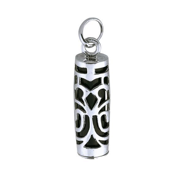 Pendentif Tiki Onyx symbole Sagesse en argent rhodi/é