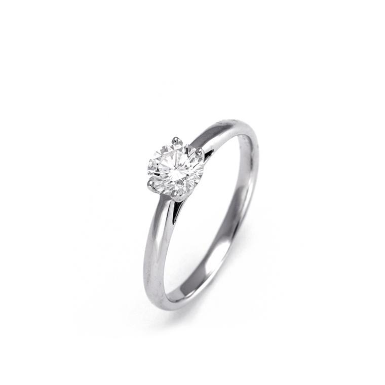 Exceptionnel Bague solitaire diamant 0.73 carat or gris 750 Facet R4653FM - Réf  QR95