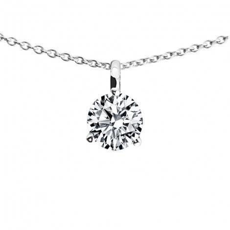 Très Collier Ras Du Cou Diamant 0.53 Carat H-SI Or Blanc 750 Facet  FH08