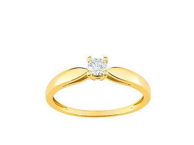 44f17fcd444 Bague Solitaire Diamant 0.16 Carat Or Jaune 750 - QT014JB4 - Réf ...