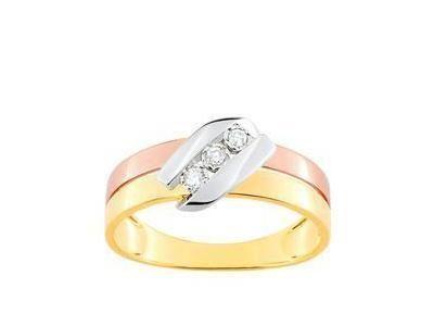 853644a19a3 Bague Trilogie Diamant Or 750 Tricolore Jaune Gris Rose - Réf ...