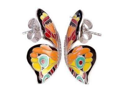 comment trouver belle qualité nouveaux produits pour Boucles d'Oreilles Una Storia Papillons Argent Email Zircon ...
