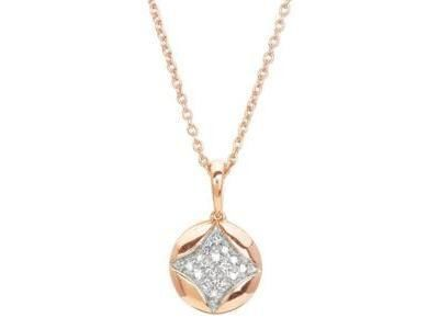 Collier rond or rose 18 carats diamant 0.07 carats, Masviel. 3.549.34 - Réf. 3.549.34