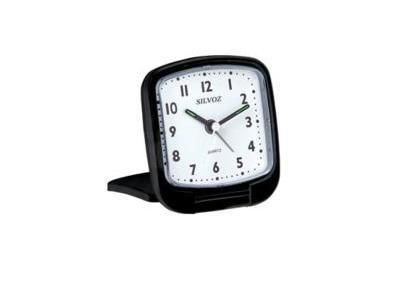 s9418040 r veil de voyage noir quartz alarme clairage cadran r veil silvoz r f. Black Bedroom Furniture Sets. Home Design Ideas